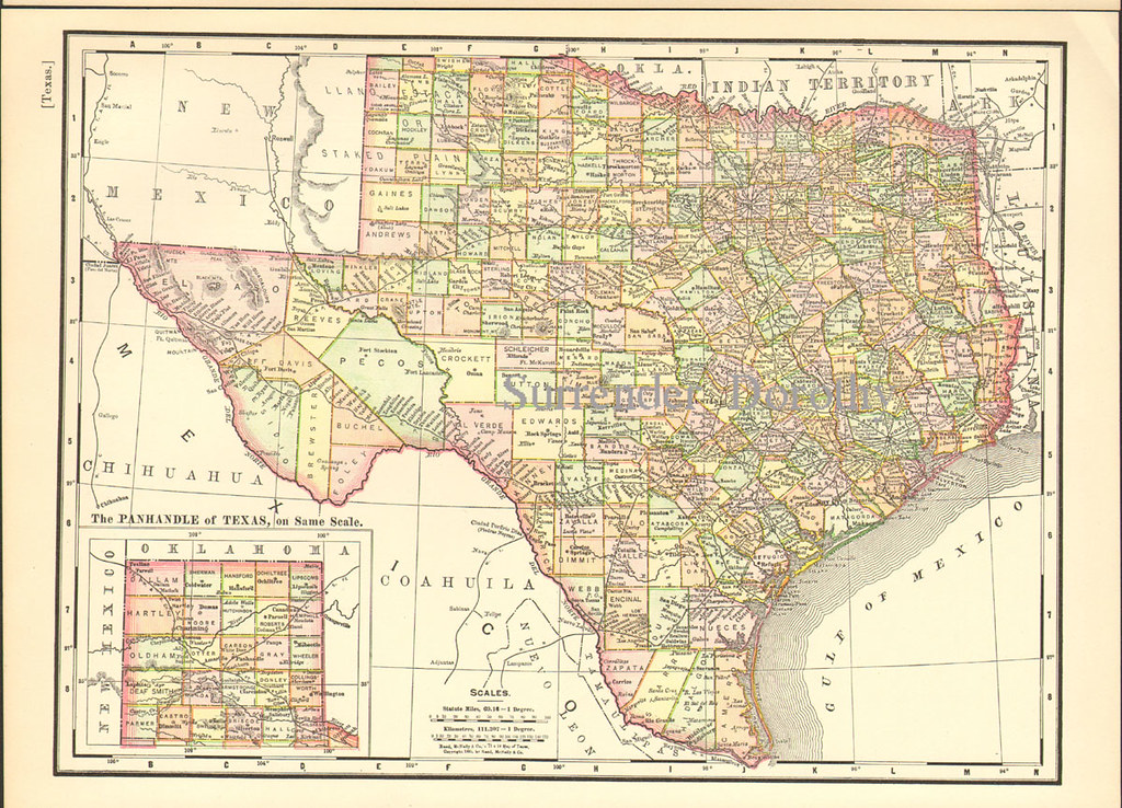 Texas Map 1895 Rand McNally  This Lovely Antique Map By