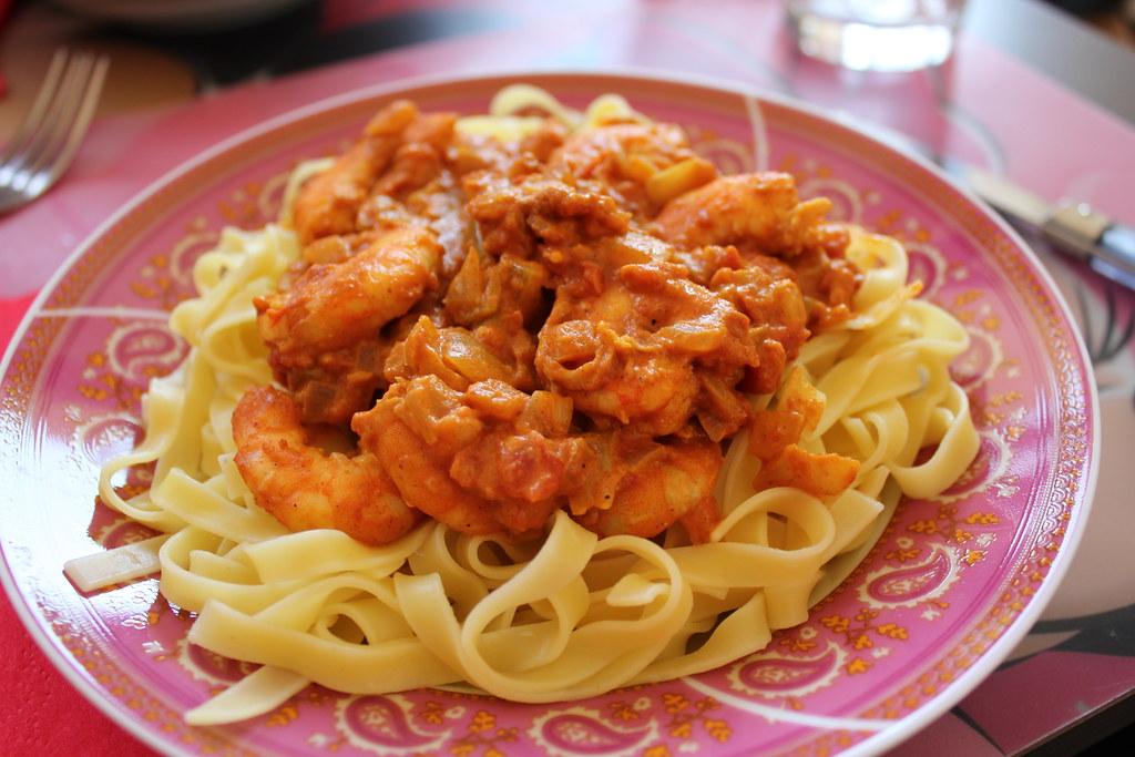 tagliatelles aux crevettes et curry couture flickr