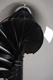 Black metal stairs lead up to the top of the Lighthouse | by jungle mama