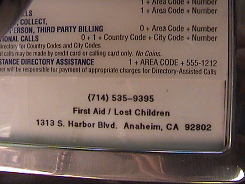 714-535-9395 Payphone info card, Disney Wish Lounge, First Aid, Lost Children, Disneyland®, 1313 S. Harbor Bl., Anaheim, California, 2008.08.08 14:03 | by Dr. Disney Wizard