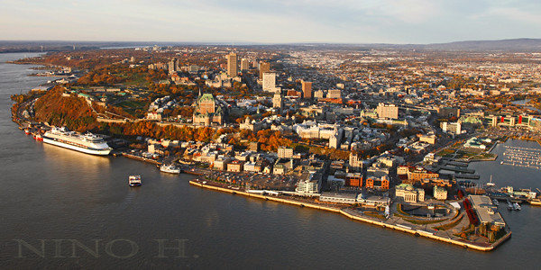 aerial view of quebec city at fall