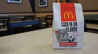 "McDonalds Monopoly 2010 small bag - ""CASH IN ON FLAVOR"" 