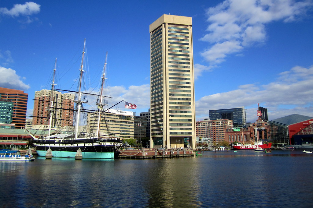 Baltimore Inner Harbor Uss Constellation And World Trad