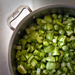 spring green: green tomatoes, chopped