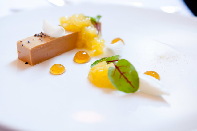 Foie gras torchon with pineapple, pearl onions, Sauterne gelee ...