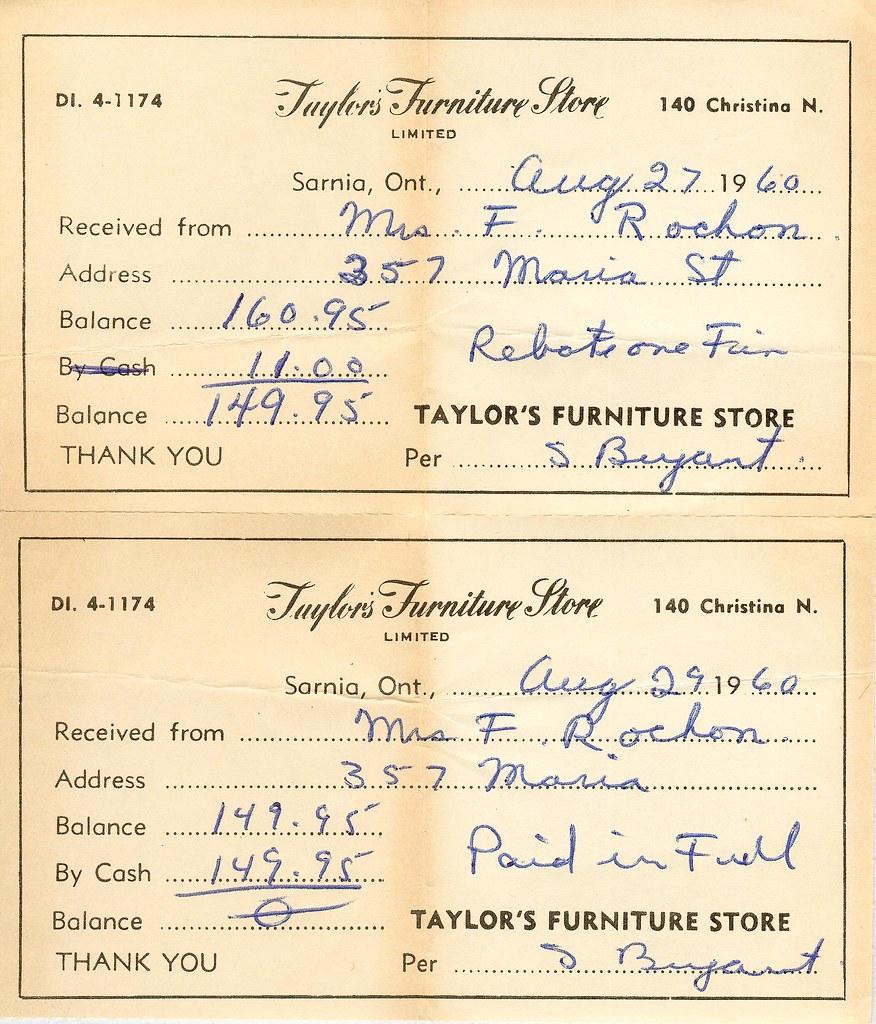 taylor s furniture receipt 1960 john rochon flickr