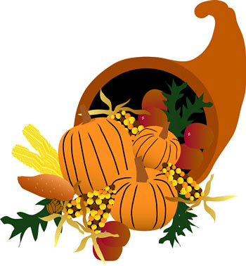 a light brown cornucopia; filled with pumpkins, squash, and other vegetables