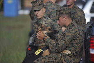 A Marine embraces his military working dog | by United States Marine Corps Official Page