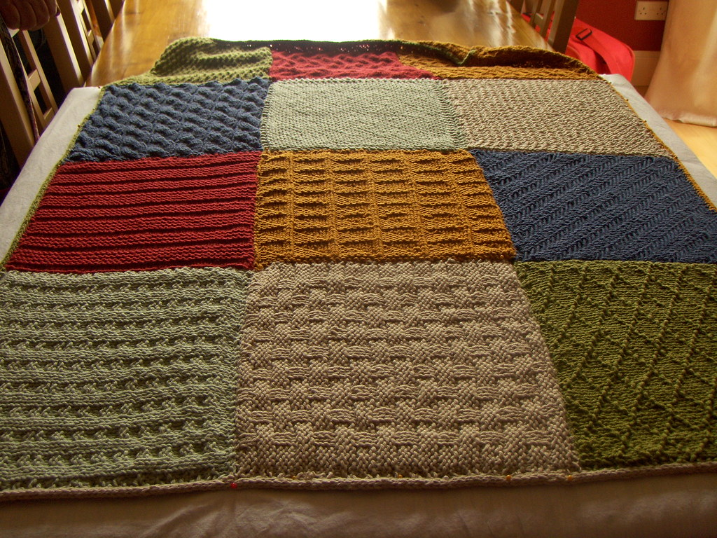 Knitting Patterns For Squares For Blanket : Knitted squares blanket A skien and pattern sent every mon? Flickr