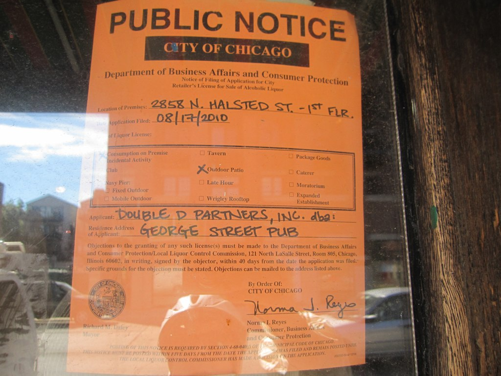 Public Notice Liquor License Applicaiton Gt George Street