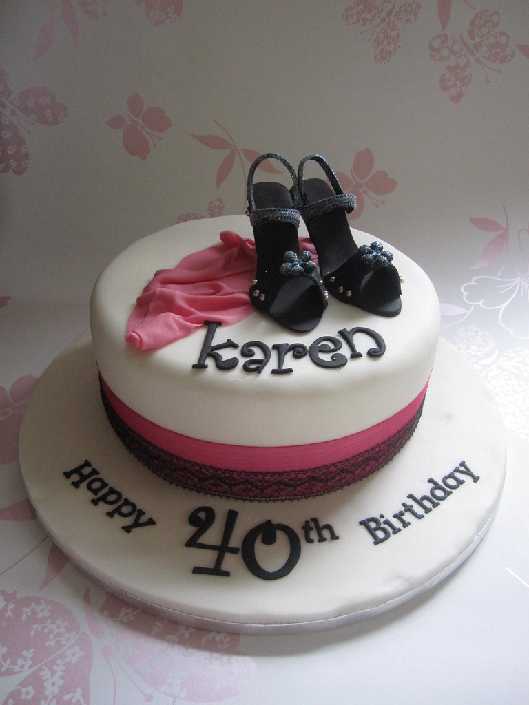 40th Birthday Cake Made for a girl who loves shoes Vanill Flickr