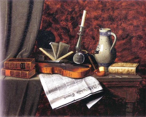 Still-life with Violin, 1886. William Harnett (1848-1892). Oil on canvas, 20 x 24 in. New Britain Museum of American Art. | by NBMAA