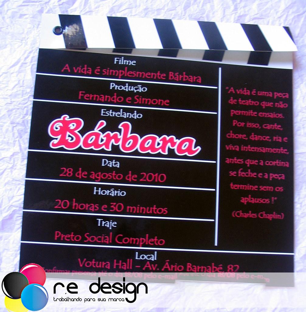 Convite de 15 anos modelo claquete | Luz, Câmera, Ação ...
