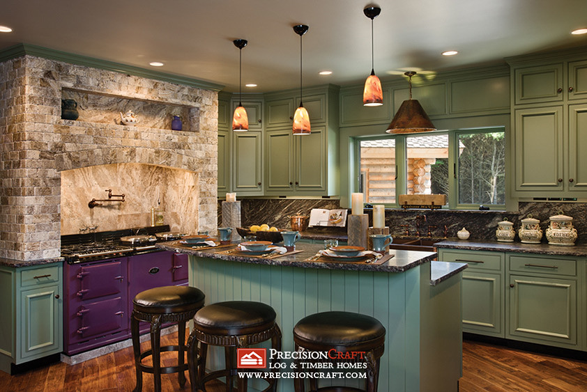 Milled Log Home Kitchen Precisioncraft Log Homes Flickr