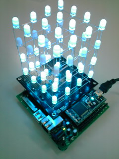 mbeduino and 4x4x4 LED CUBE Shield | by okini393939