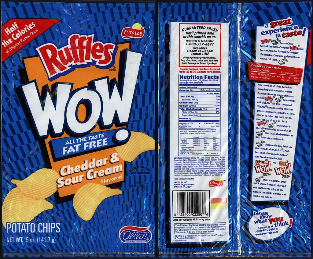 Frito Lay Ruffles Wow Cheddar Amp Sour Cream Potato Chip B