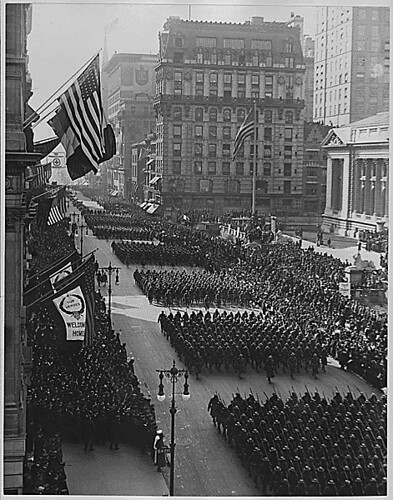 Overseas men welcomed home. Parade in honor of returned fighters passing the Public Library, New York . . ., 1917 - ca. 1919 | by The U.S. National Archives