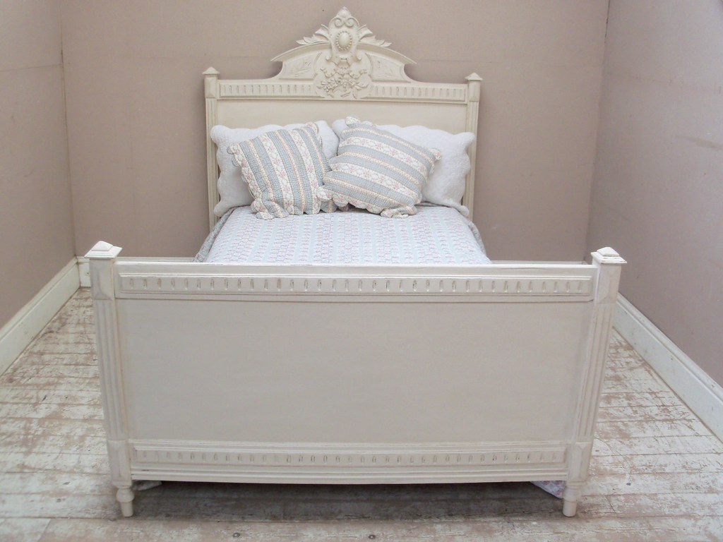 Antique Double Bed Solid Wood Brass Filagree
