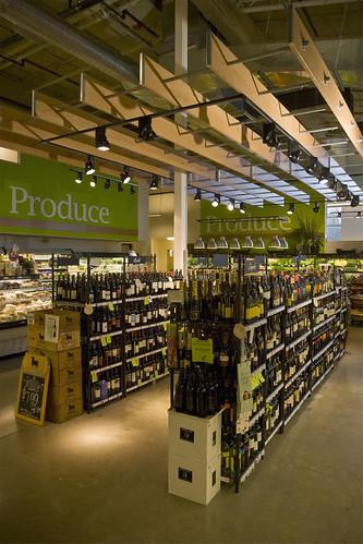 Grocery Store Wine Area Hanging Wood Trellis Market In
