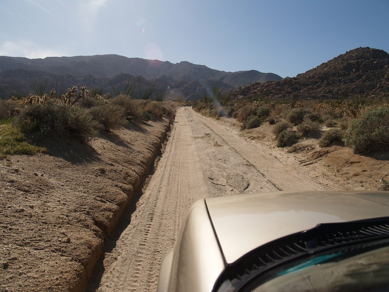 Driving on Mortero Canyon Road toward Dos Cabezas and the Mortero Palms