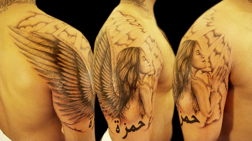 Angel with clouds and arab name tattoo miguel angel for Angel in clouds tattoo