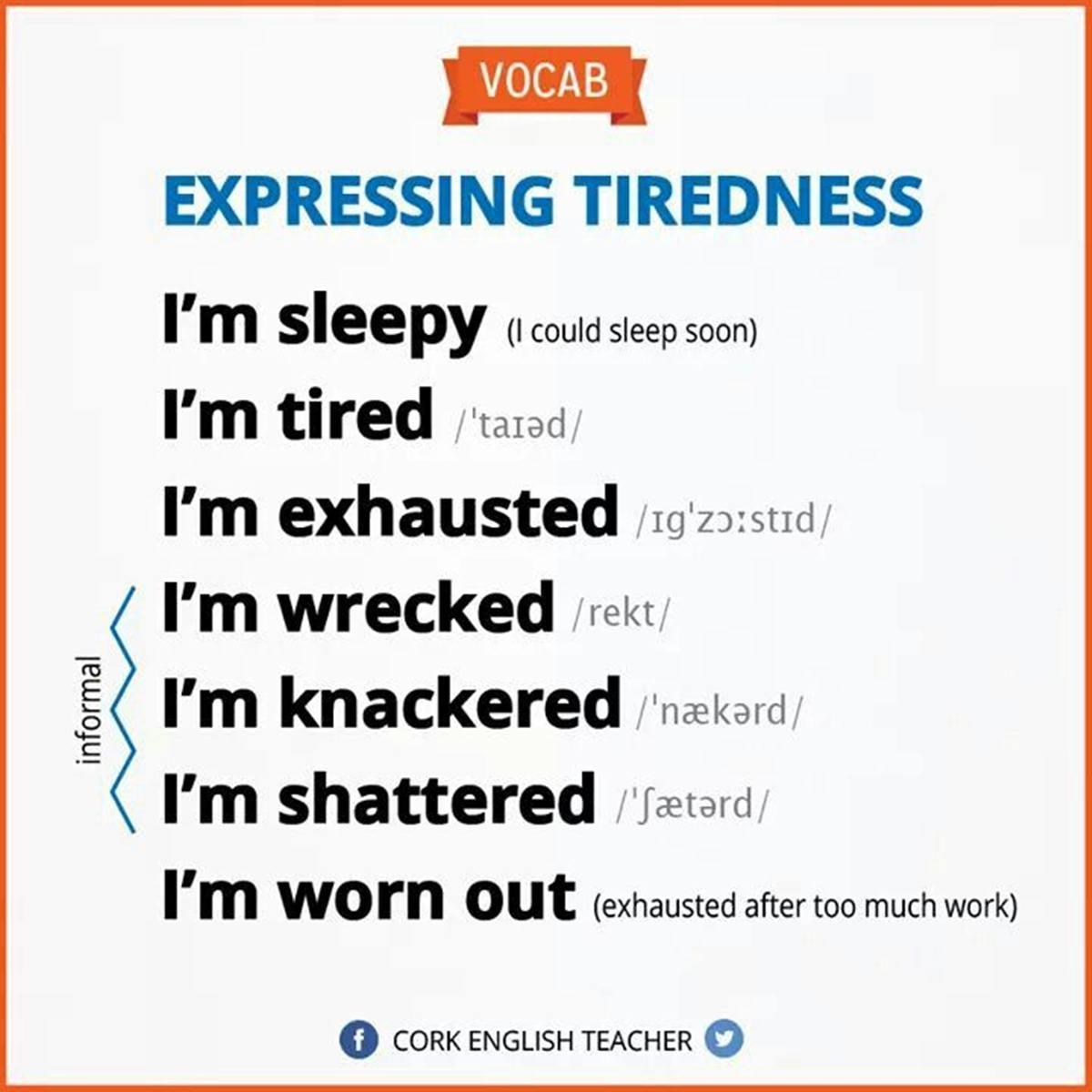 Expressing TIREDNESS 3