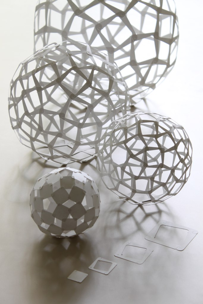 Sculptural Spheres Crazy Wonderful: Each Sphere Is Made Of 60 Squares