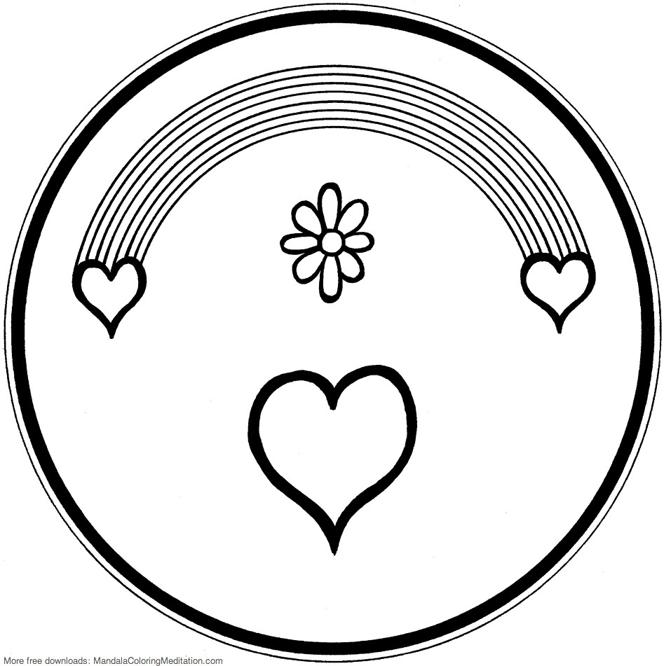 Printable Children Coloring Page Rainbow Heart Mandala