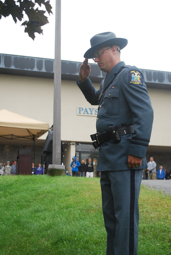 9 11 Ceremony Suny Canton Police Officer Perry Salutes