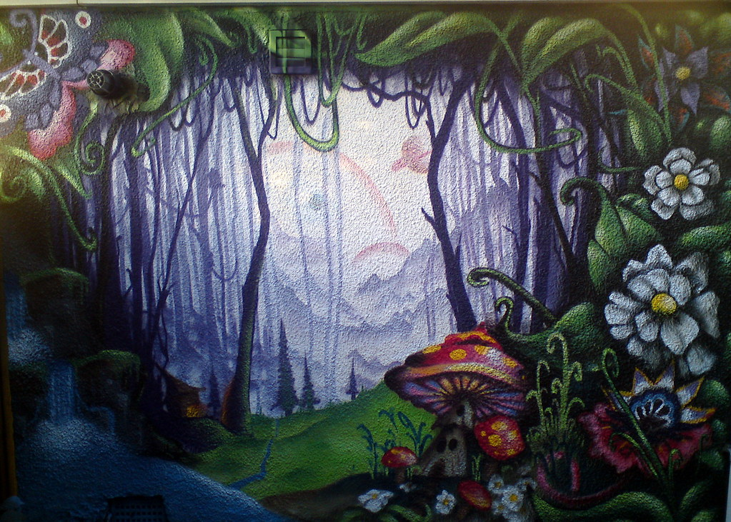 Enchanted forest me and poster using up a few dregs on a for Enchanted forest mural wallpaper