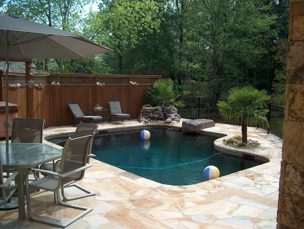 Stone Swimming Pool Hardscape Landscape Atlanta