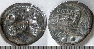 100/5 Canusium CA Sextans. oo, CA behind / Mercury; ROMA / Prow / CA / oo. d'Ailly 3097, 3g68. Odd obv.mm layout. | by Ahala