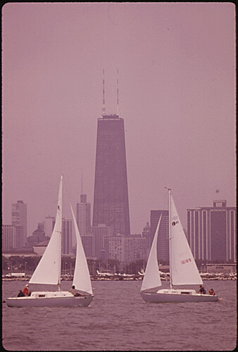 Photograph of Sailboats Near the Lake Michigan Shoreline, 10/1973. | by The U.S. National Archives