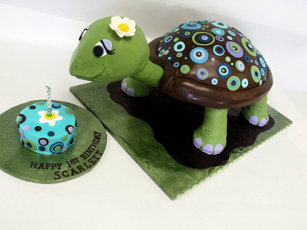 Turtle cake with modern dots Turtle cake for a special 1st Flickr