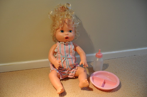 Kenner Baby Alive Doll 1990 With Her Bowl And Bottle