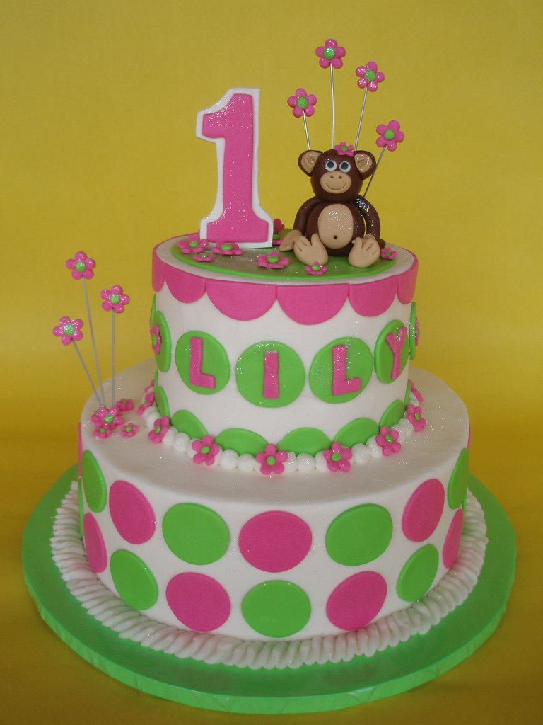 Little Girl Monkey Birthday Cake