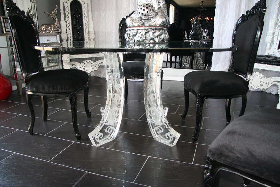 Mirrored Glass Dining Table With Black Victorian Chairs