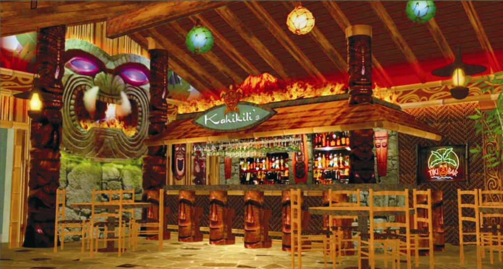 Interior tropical bar design tiki