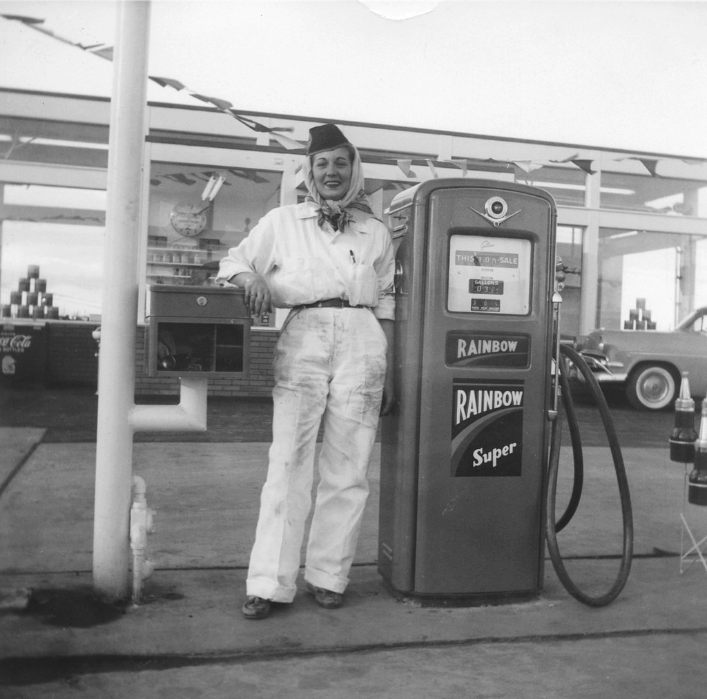 Female Gas Station Attendant 1950s Rainbow Gasoline | Flickr