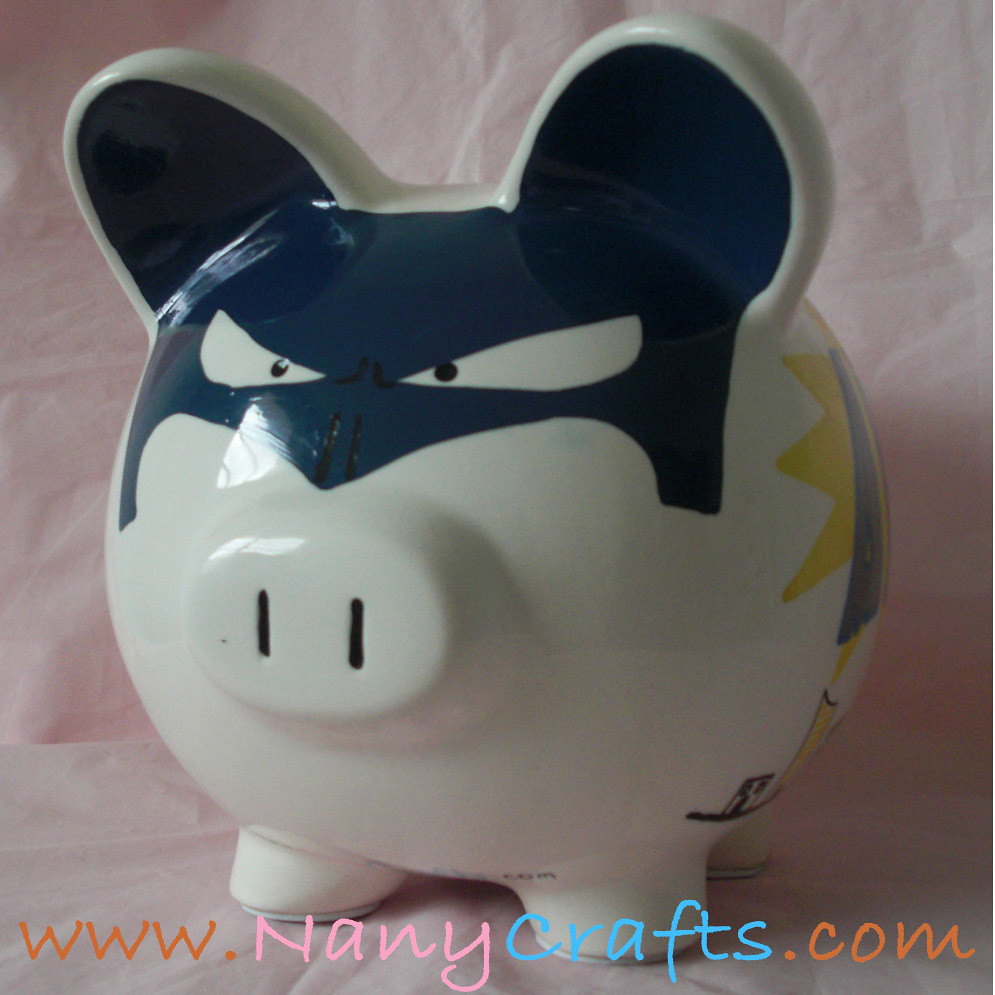 Superhero piggy bank unique personalized piggy bank with for Make your own piggy bank