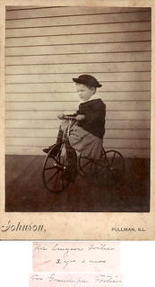 Young boy on a trike - by Johnson, Pullman, Illinois c. 1900 | by whatsthatpicture