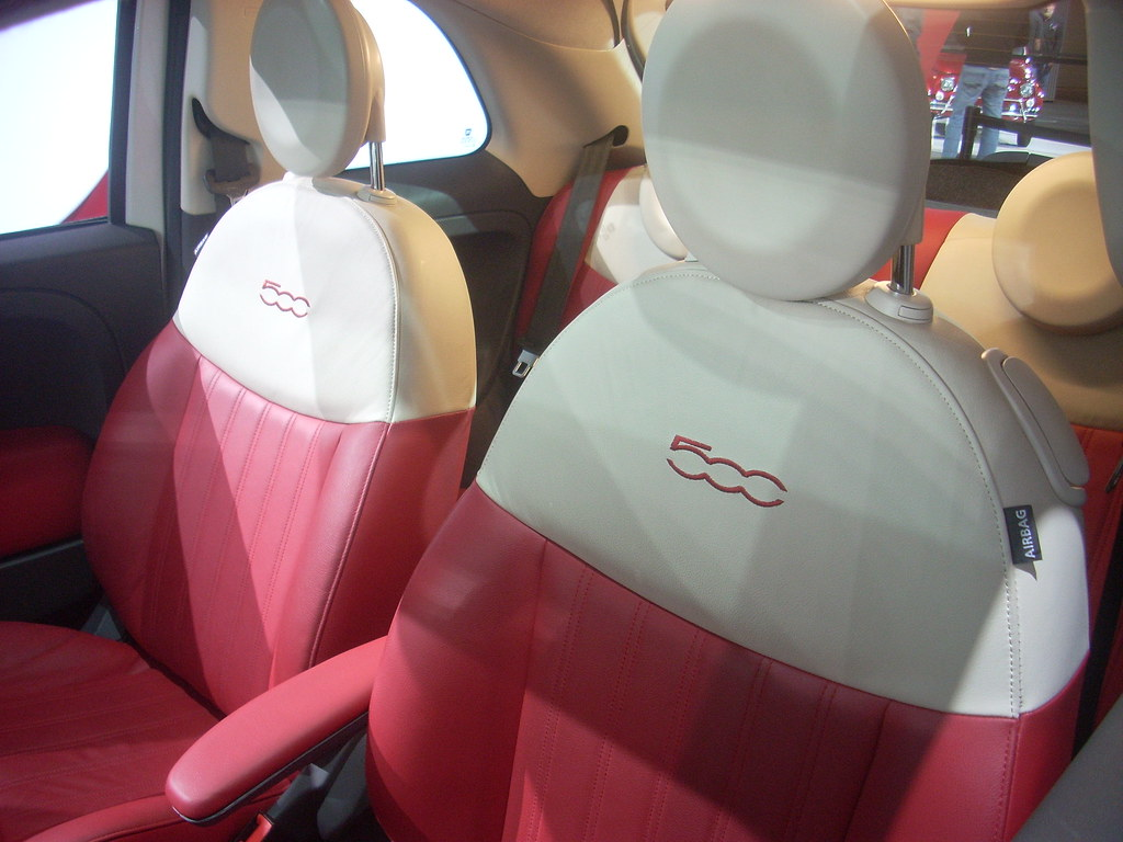 fiat 500 red white leather interior los angeles auto show flickr. Black Bedroom Furniture Sets. Home Design Ideas