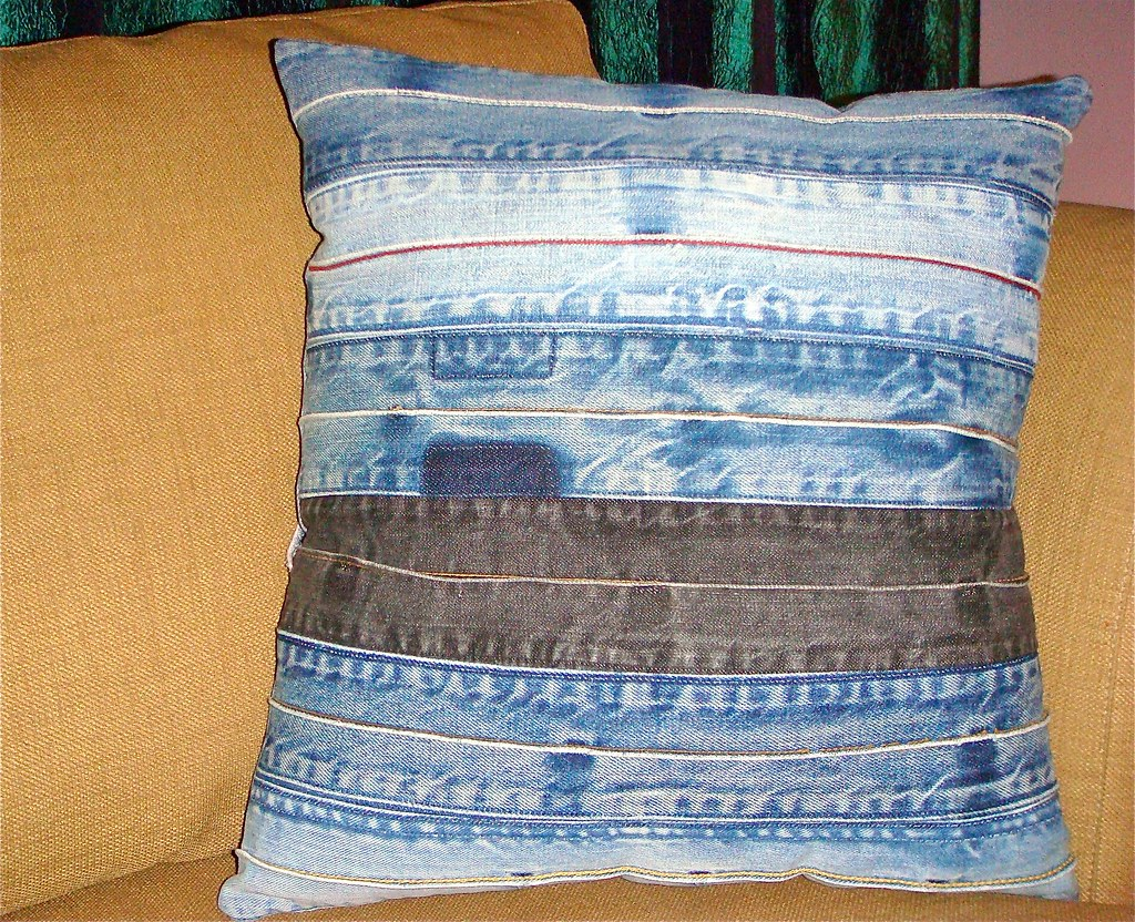 Upcycled Denim Pillow Front These Sustainable Upcycled
