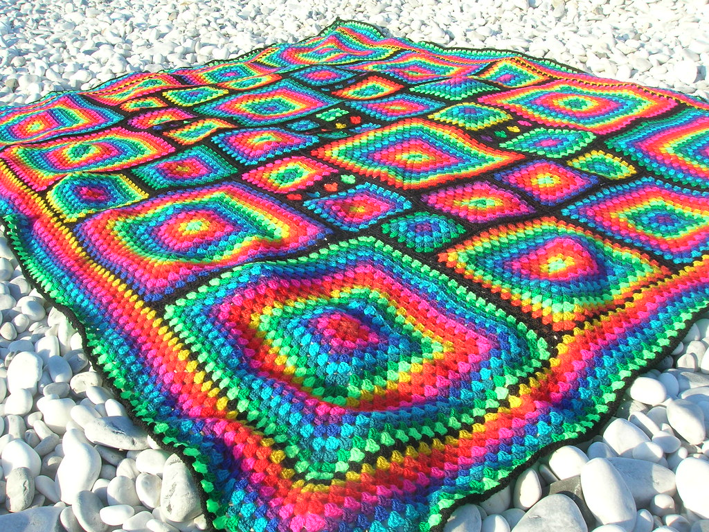 Irregular Rainbow Mosaic Crochet Afghan Now on facebook ...