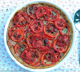 Tomato Tart with Parmesan and Bacon | by CinnamonKitchn