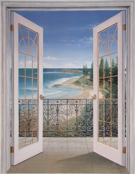 French doors seascape trompe l 39 oeil french doors - Sticker trompe l oeil mural ...