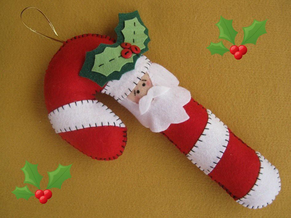 Noel bengala n o uma gracinha e bem r pido de - Plantillas para manualidades de fieltro navidad ...