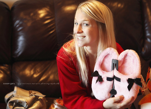 Young Smiling Woman and Pink Xmas Slippers | by *GloriousNature*bySusanGaryPhotography