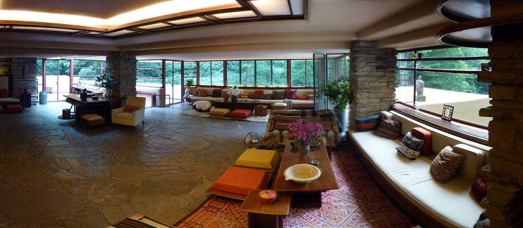 Fallingwater Living Room Frank Lloyd Wright Pano
