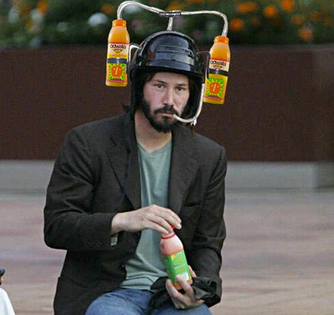Sad Keanu Reeves Meme Drink Helmet Shown Here Drinking